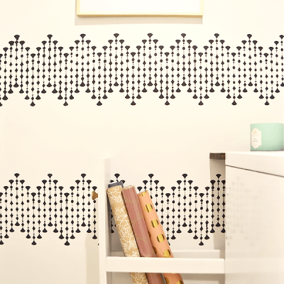 laundry room makeover, laundry room, stencil, wrapping paper storage, modern, geometric