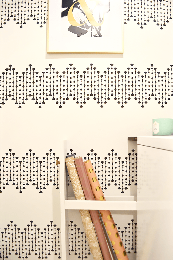 Laundry room makeover, wrapping paper storage, laundry room, wall stencil, wallpaper, storage, organization