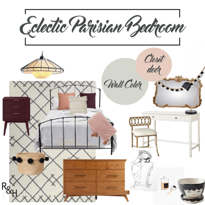 Eclectic Parisian Bedroom, Design Board, Design Plan, Bedroom Design, Girls bedroom design, hygge
