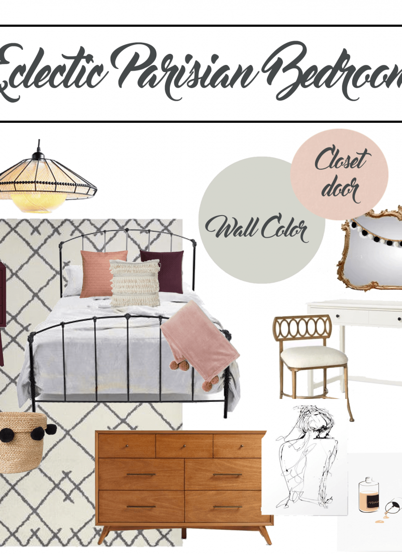 Eclectic Parisian Bedroom, Design Board, Design Plan, Bedroom Design, Girls bedroom design, hygge