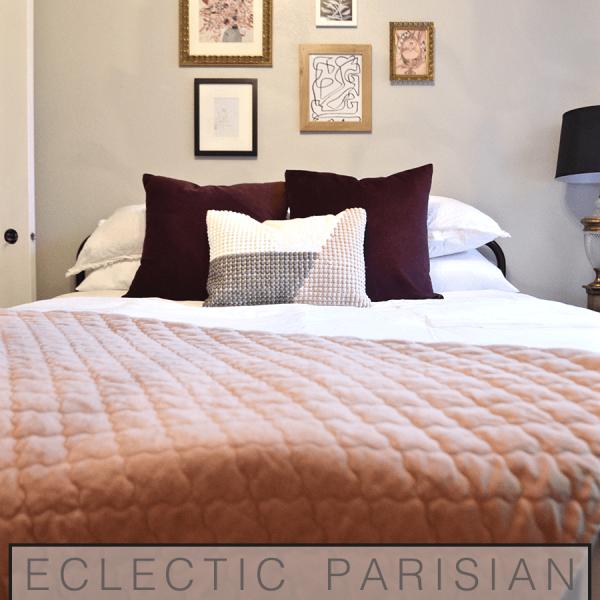 Eclectic parisian bedroom, bedroom design, black and white, blush pink, adult girls bedroom