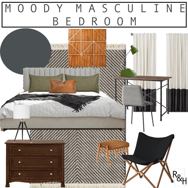 Moody Masculine Teen Boy's Bedroom Makeover- Project Sheridan