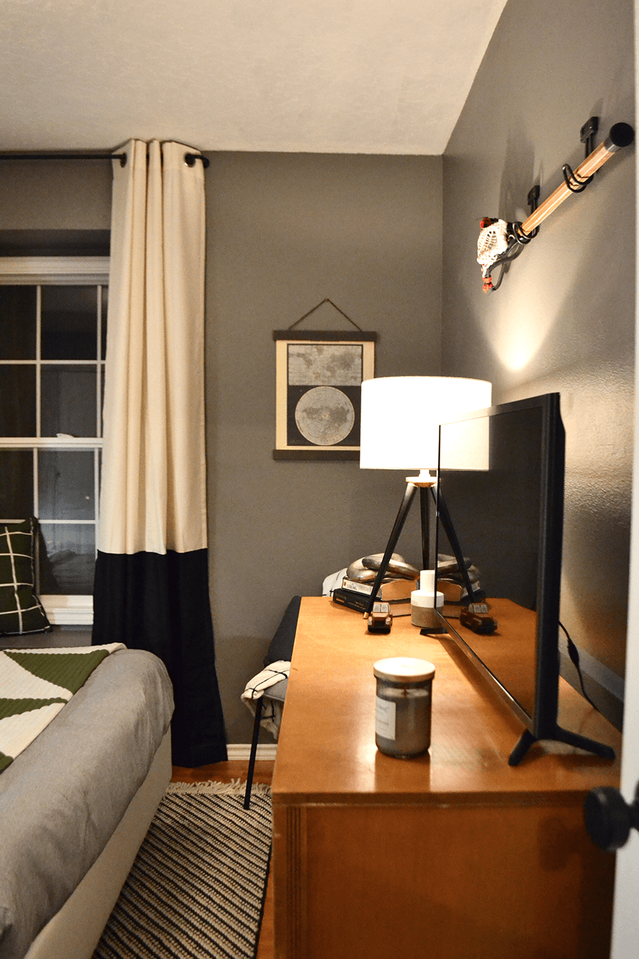 teen boys bedroom, comfy, cozy bedroom, bedroom makeover, boutique hotel room, neutral bedroom, moody bedroom, cozy bedroom corner, tripod lamp, hearth and hand, teen boy