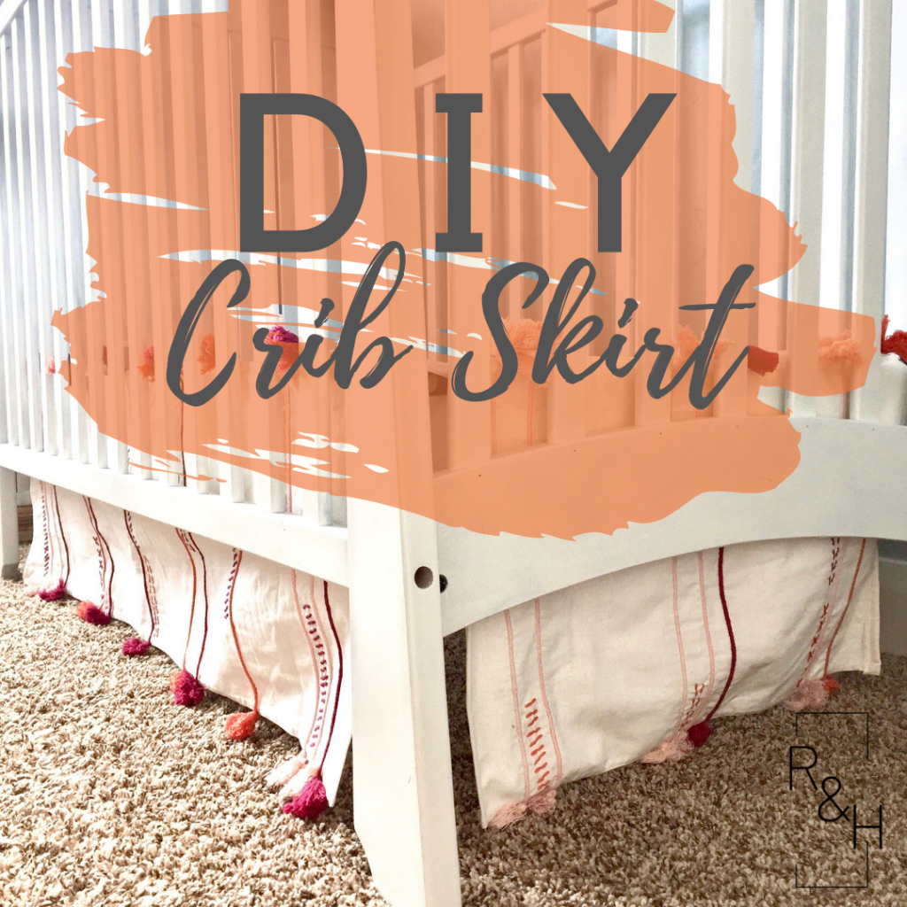 An easy DIY crib skirt made of two table runners. DIY crib skirt, DIY nursery decor, bohemian nursery, tassels, table runner, do it yourself, craft ideas.