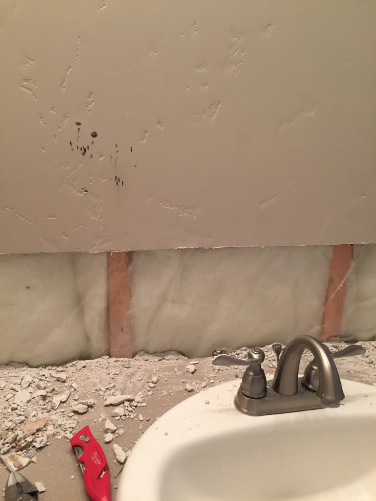 drywall behind backsplash