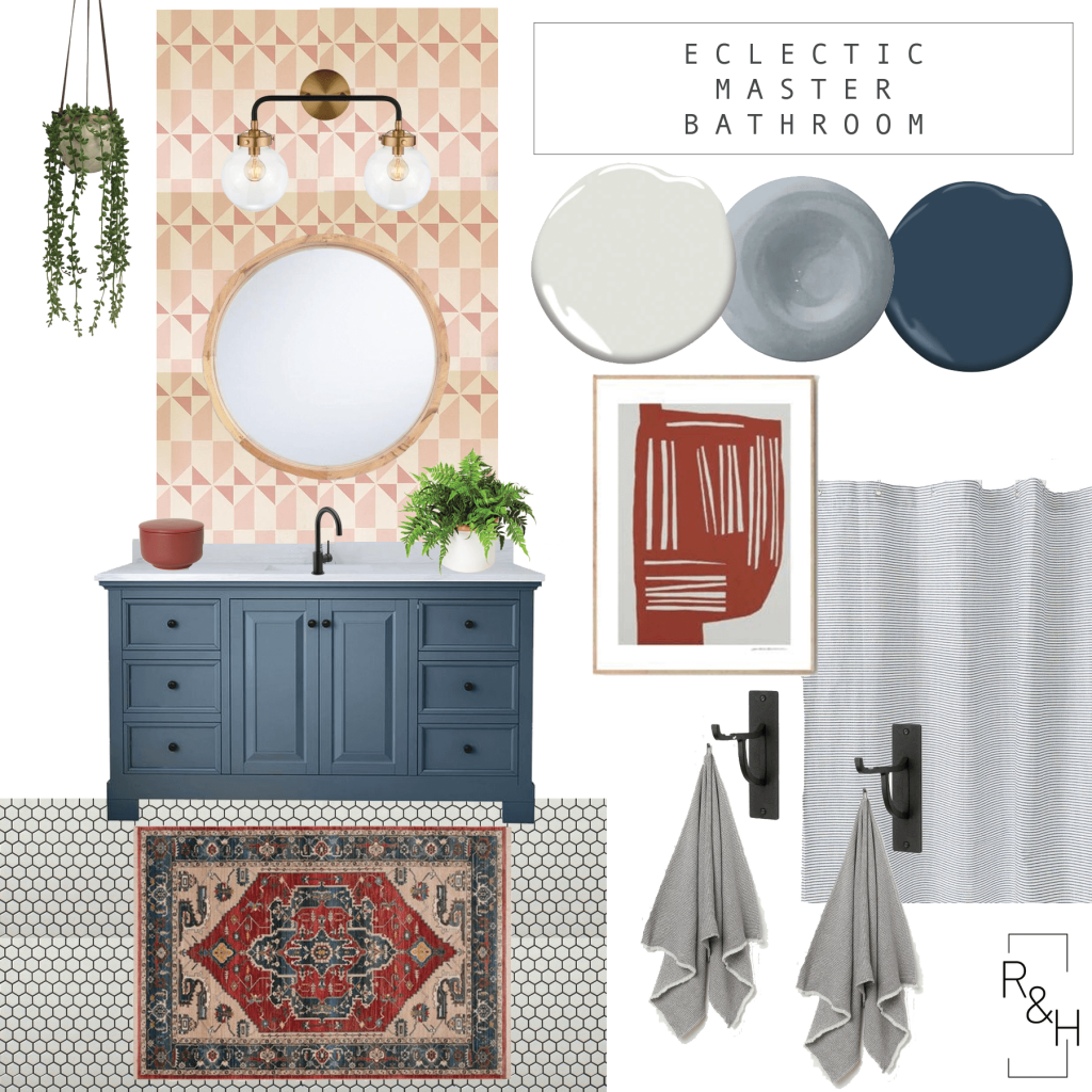 Eclectic master bathroom mood board, design plan, vintage rug, hex tile, stencil bathroom, blue vanity, blue and red bathroom