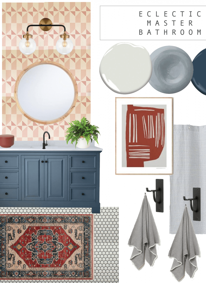 eclectic master bathroom design plan for the one room challenge