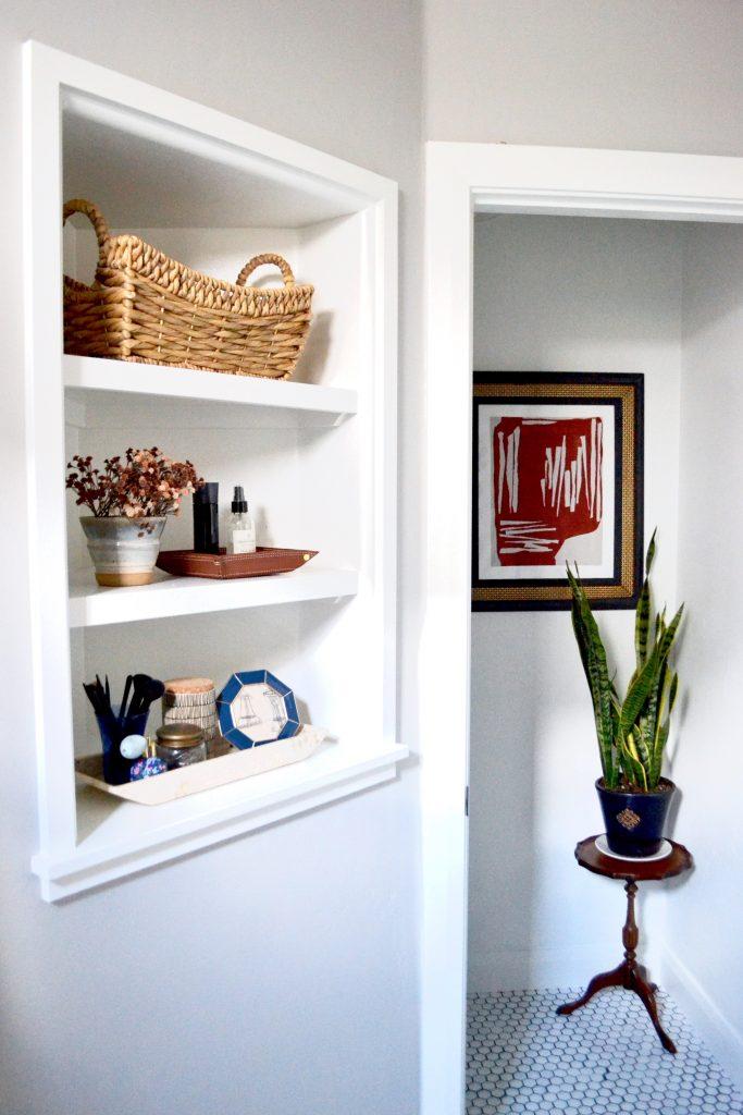 eclectic master bathroom, vintage rug, stenciled floors, diy bathroom, diy art