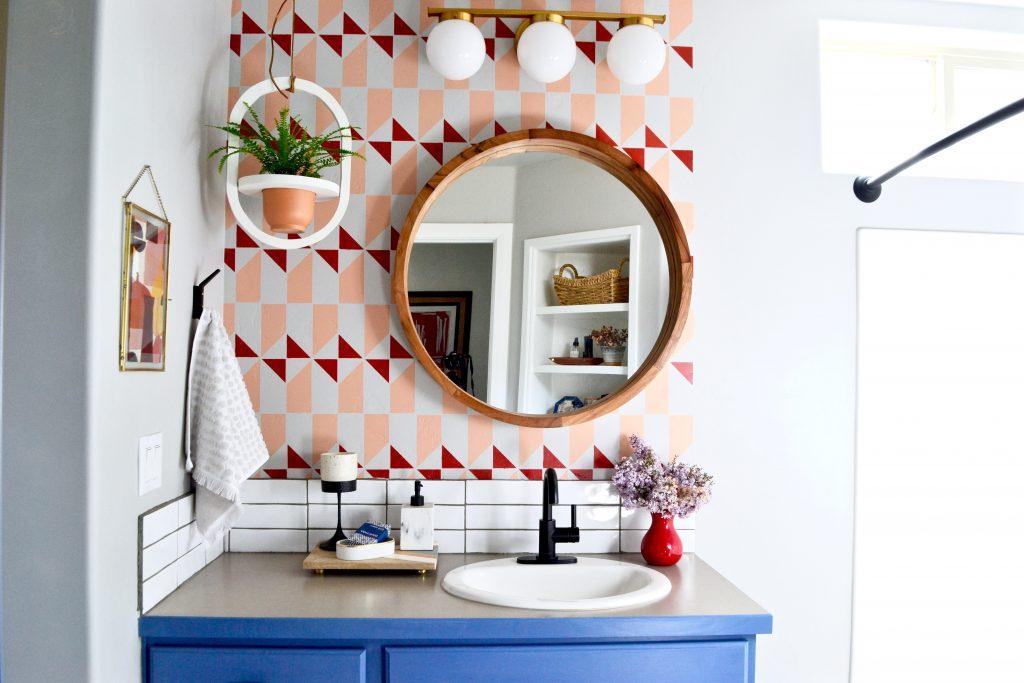 eclectic master bathroom, vintage rug, stenciled floors, diy bathroom