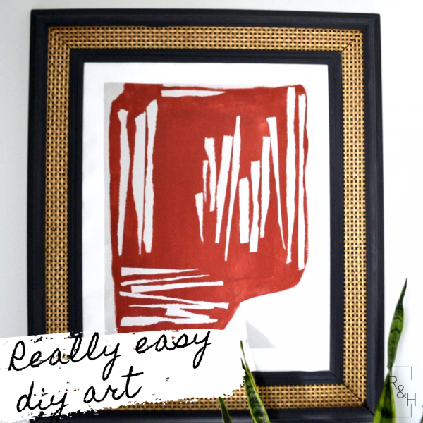 burgundy and white abstract DIY painting with vintage frame