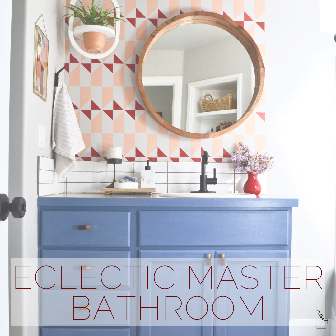 eclectic master bathroom, vintage rug, stenciled floors, diy bathroom