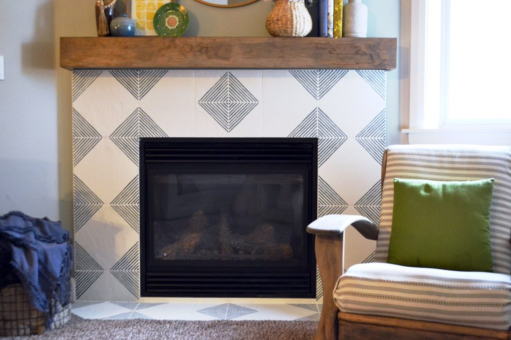 Stenciled Fireplace DIY - modern geometric fireplace - concrete tile