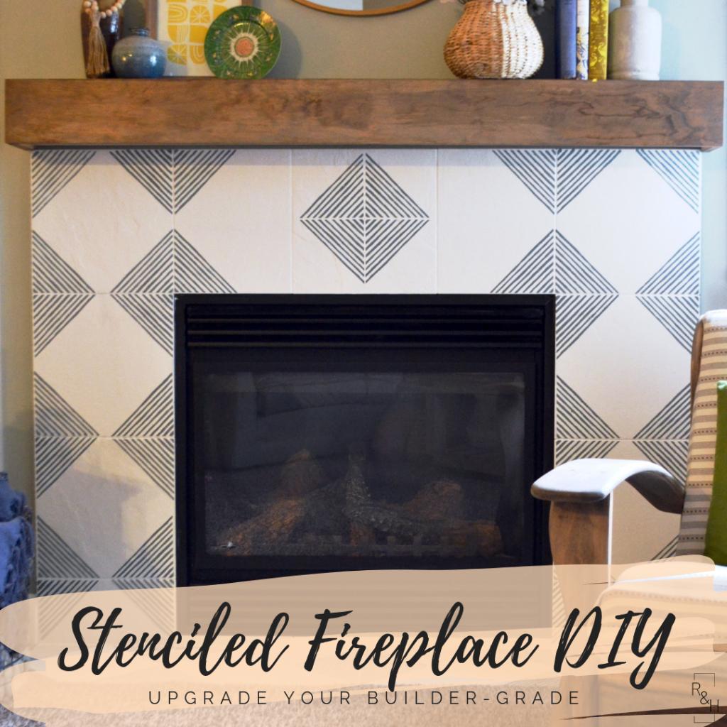stenciled fireplace diy, concrete tile, cement tile, modern fireplace, fireplace update