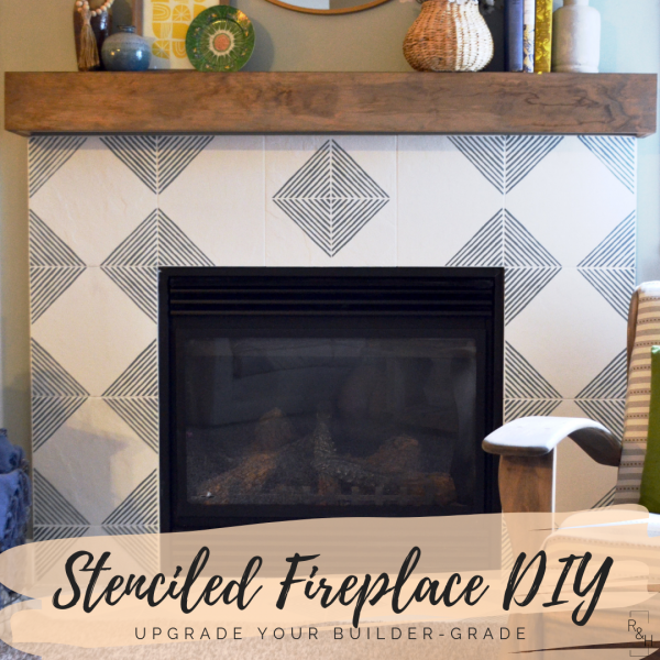 stenciled fireplace diy, diy fireplace, cement tile, concrete tile, how to stencil