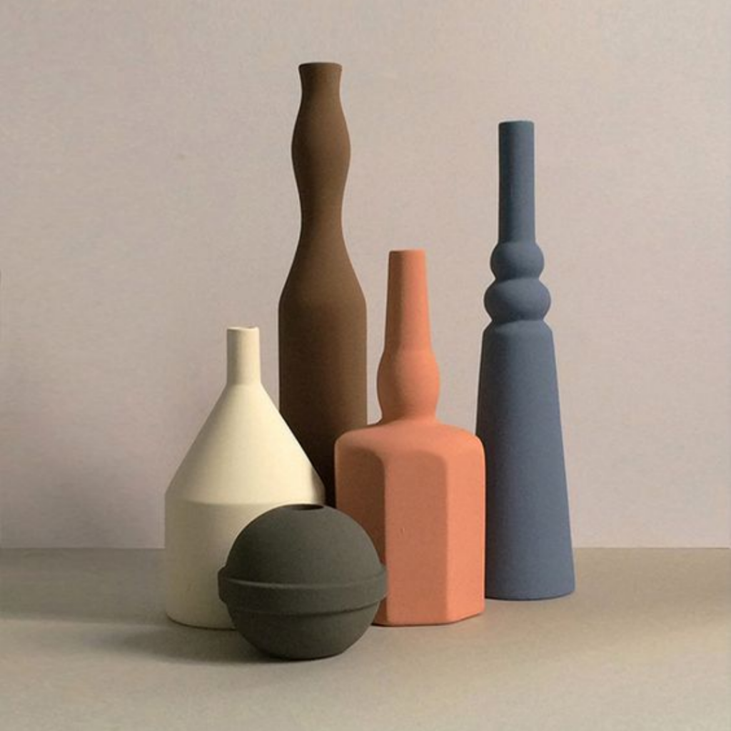 Matte geometric vases in a muted color palette - inspiration photo