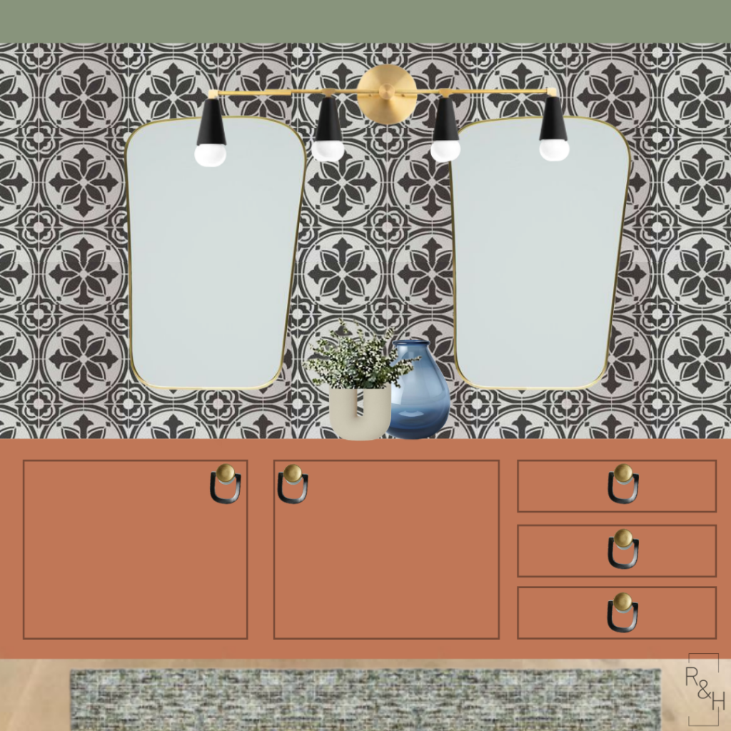 One Room Challenge Spring 2020 Design Plan - Muted groovy bathroom, rust and sage and blue bathroom