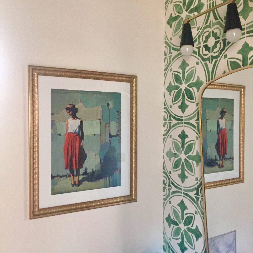Artfully walls, stenciled bathroom, art walls, black and gold
