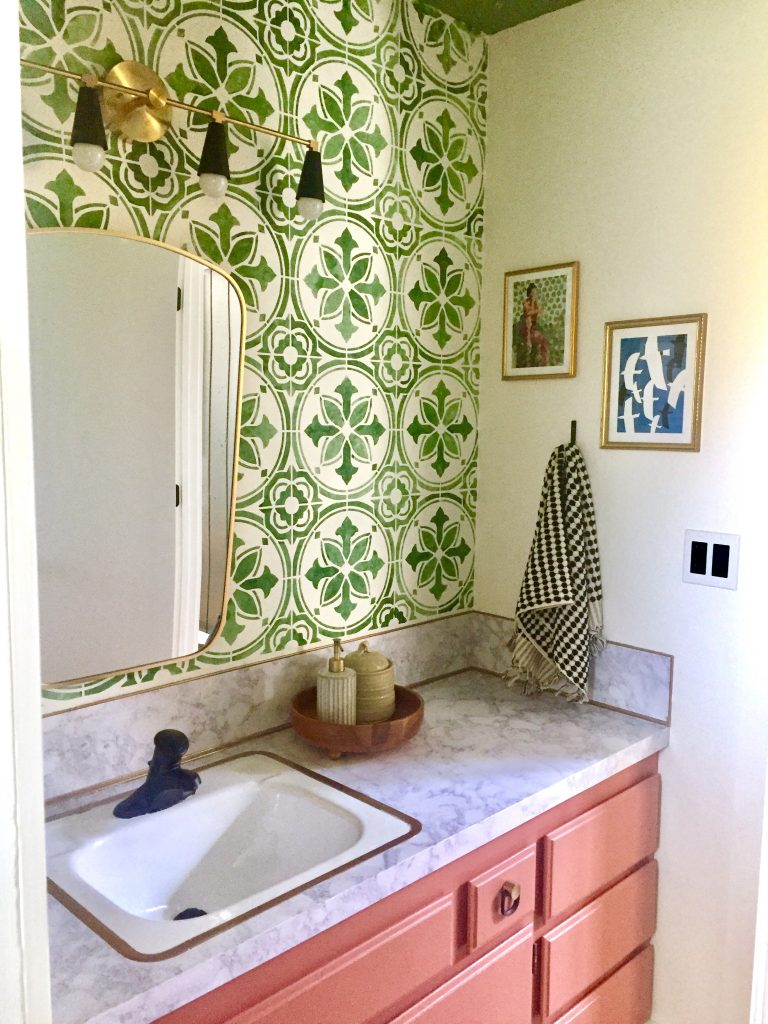 green and pink and blue bathroom makeover